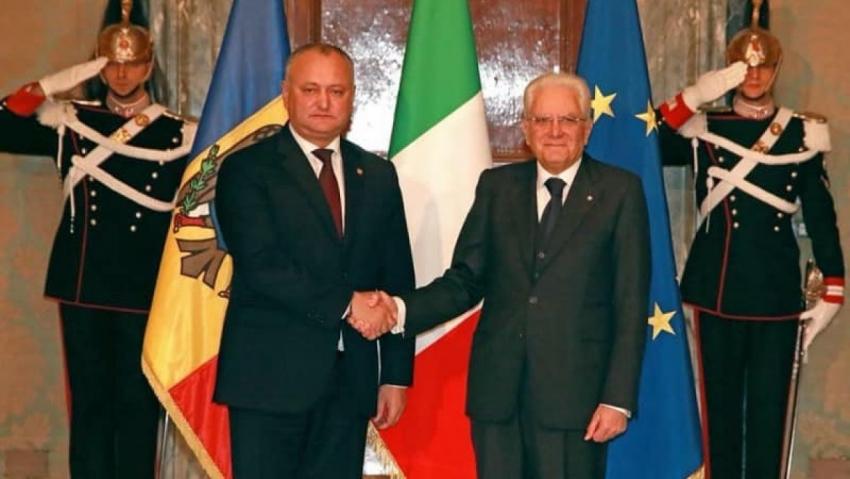 PRESEDINTELE IGOR DODON A ADRESAT UN MESAJ DE FELICITARE PRESEDINTELUI REPUBLICII ITALIENE, SERGIO MATTARELLA, CU PRILEJUL ZILEI NATIONALE A ITALIEI